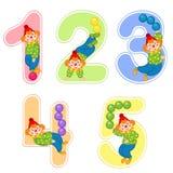 Ensemble de nombres avec le jongleur de clown de 1 à 5 Photos libres de droits