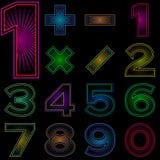 Ensemble de nombres avec le modèle rayonnant Photos libres de droits