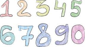Ensemble de nombres colorés tirés par la main de vecteur Photos stock