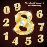 Ensemble de nombres de luxe d'or et de diamants Images stock