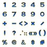Ensemble de nombres et de signes, boutons Images stock