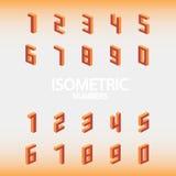 Ensemble de nombres isométriques oranges Photos stock