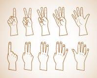 Ensemble de nombres sur l'illustration de mains juste contours Photographie stock
