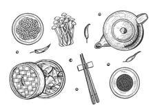 Ensemble de nourriture de chinois traditionnel illustration de vecteur