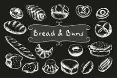 Ensemble de nourriture de boulangerie de craie Images stock