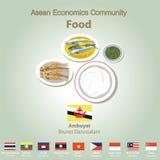 Ensemble de nourriture de l'AEC de la Communauté de sciences économiques d'ASEAN Images libres de droits
