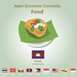 Ensemble de nourriture de l'AEC de la Communauté de sciences économiques d'ASEAN Photos libres de droits