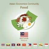 Ensemble de nourriture de l'AEC de la Communauté de sciences économiques d'ASEAN Images stock