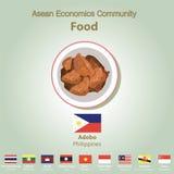 Ensemble de nourriture de l'AEC de la Communauté de sciences économiques d'ASEAN Image stock