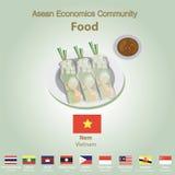 Ensemble de nourriture de l'AEC de la Communauté de sciences économiques d'ASEAN Photo stock