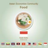 Ensemble de nourriture de l'AEC de la Communauté de sciences économiques d'ASEAN Photos stock