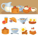 Ensemble de nourriture de petit déjeuner de vecteur illustration de vecteur