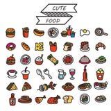 ensemble de nourriture de vecteur Photo stock