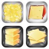 Ensemble de nourriture emballée par laiterie différente illustration de vecteur