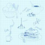 Ensemble de nourriture et de boissons Photographie stock