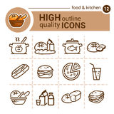 Ensemble de nourriture et de cuisine Photo libre de droits