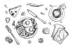 Ensemble de nourriture de petit déjeuner illustration stock