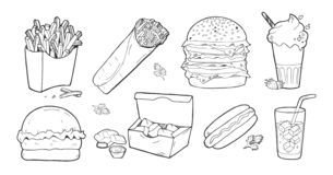 Ensemble de nourriture de prêt-à-manger illustration stock