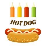 Ensemble de nourriture de rue de hot-dog Image colorée de vecteur Photo libre de droits