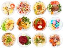 Ensemble de nourriture savoureuse. D'isolement au-dessus du blanc Image stock
