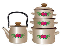 Ensemble de nouveaux pots et bouilloire Images stock