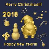 Ensemble de nouvelle année et de Noël 3D Or Santa Claus, cadeaux, texte, bonhomme de neige, chien, cloche, flocon de neige, colle Photographie stock libre de droits