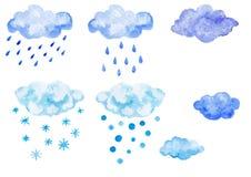 Ensemble de nuages bleus d'aquarelle avec la précipitation Photos stock