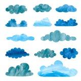 Ensemble de nuages pluvieux d'aquarelle illustration stock