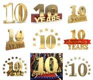 Ensemble de numéro dix ans 10 ans de conception de célébration illustration libre de droits