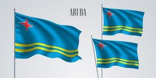 Ensemble de ondulation de drapeau d'Aruba d'illustration de vecteur Photos stock