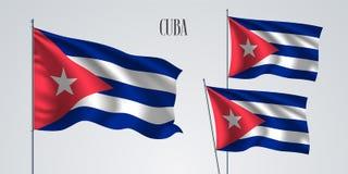 Ensemble de ondulation de drapeau du Cuba d'illustration de vecteur illustration stock