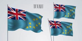 Ensemble de ondulation de drapeau du Tuvalu d'illustration de vecteur illustration libre de droits
