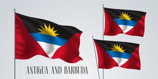 Ensemble de ondulation de drapeau de l'Antigua-et-Barbuda d'illustration de vecteur Photos stock