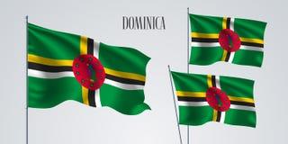 Ensemble de ondulation de drapeau de la Dominique d'illustration de vecteur Couleurs rouges vertes illustration stock