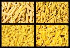 Ensemble de pâtes italiennes de collection, texture de fond Photographie stock