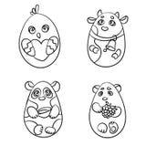 Ensemble de page de coloration de 4 animaux mignons dans une forme d'oeuf de pâques illustration libre de droits