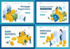 Ensemble de pages de débarquement de concept isométrique de choisir des produits d'opérations bancaires, hypothèque, dépôt, prêt illustration stock