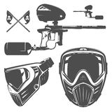 Ensemble de paintball, conception de paintball, tatouage de paintball Photographie stock libre de droits
