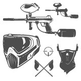 Ensemble de paintball, conception de paintball, tatouage de paintball Image libre de droits