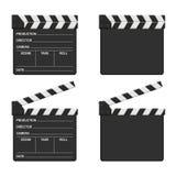 Ensemble de panneau de clapet de film d'isolement sur le fond blanc Cinéma vide de clapet de film Images libres de droits