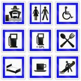 Ensemble de panneaux routiers français de l'information Image libre de droits