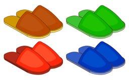 Ensemble de pantoufles de maison colorées Illustration plate de vecteur de conception Photos libres de droits