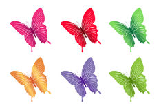 Ensemble de papillons colorés pour le ressort Photo stock