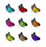 Ensemble de papillons colorés réalistes d'isolement pour le ressort Image libre de droits