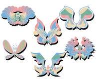 Ensemble de papillons d'isolement par couleur douce Photographie stock libre de droits