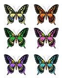Ensemble de papillons multicolores sur un fond blanc, une collection de papillons Illustration de vecteur Photographie stock libre de droits