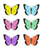 Ensemble de papillons multicolores sur un fond blanc, une collection de papillons Illustration de vecteur Photo stock