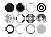 Ensemble de paquet d'icône d'octogone Le noir octogonal huit de la géométrie a dégrossi ligne d'octogone de polygone Illustration illustration libre de droits