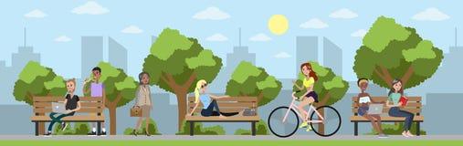 Ensemble de parc de ville illustration libre de droits