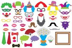 Ensemble de partie clowns Verres, chapeaux, lèvres, perruques, moustaches, lien illustration de vecteur